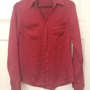 Express Petite red button down blouse